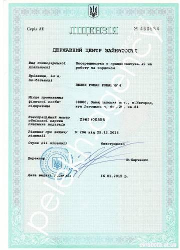 Лицензия на трудоустройство за границу свежая - 2965900556 Пелех ПП