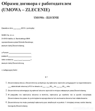 umowa zlecenia что это договор с работодателем